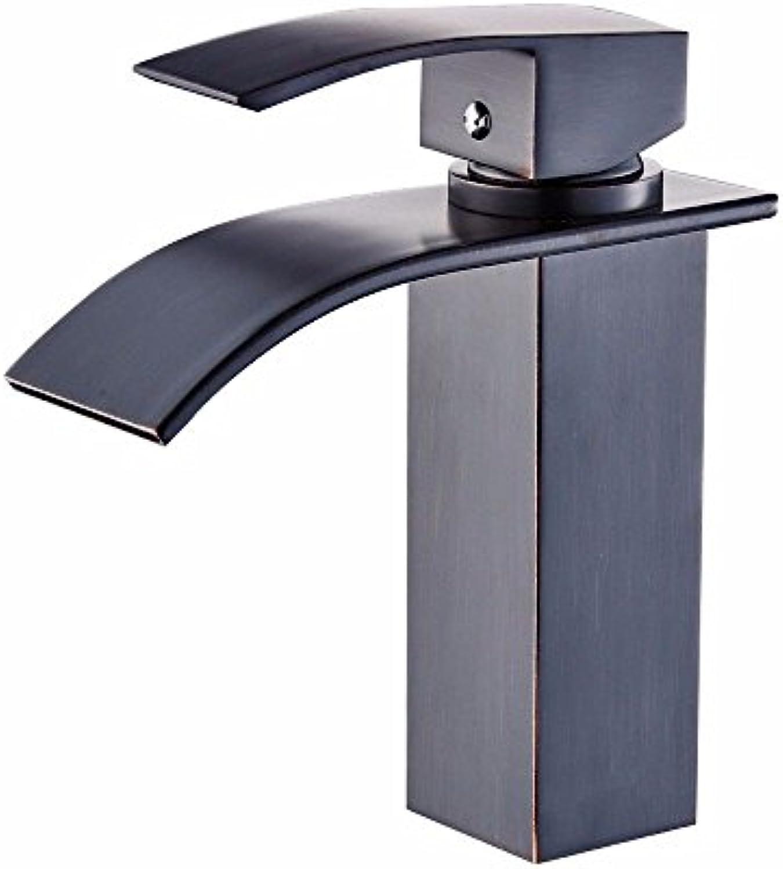 NewBorn Faucet Wasserhhne Warmes und Kaltes Wasser groe Qualitt der Kupfer Schwarz Quartett Leitungswasser Waschbecken Kaltes Wasser Waschbecken Wasserfall Leitungswasser