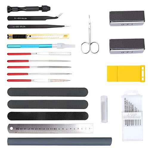 Aussel - Juego de herramientas de 25 piezas, modelo Gundam, herramientas básicas, juego de manualidades para construcción de modelos básicos, reparación y fijación