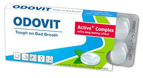 Mal aliento - ODOVIT te ayuda: pastillas para la higiene bucal de 10 unidades - Fuerte contra la halitosis - para un aliento fresco y duradero