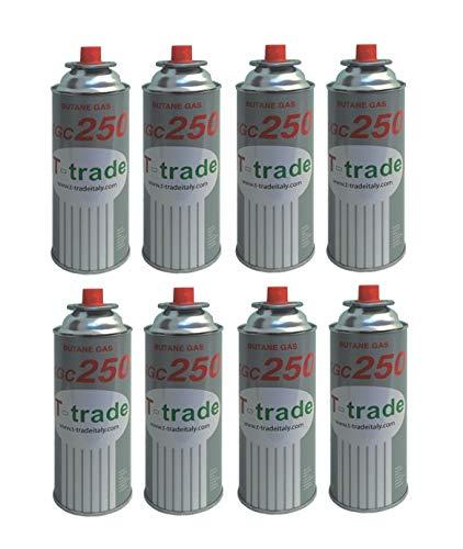 ALTIGASI Lot de 8 Cartouches de gaz GPL 250 g Art. KCG250 - Fer à souder pour chaudière ou cuisinière à gaz, Compatible Campingaz Brunneri, Produit fonctionnant avec Cartouche CP250 Campingaz