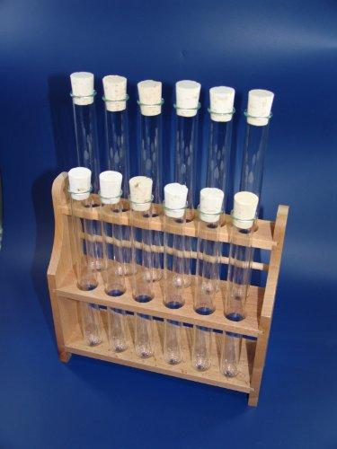 Reagenzglasgestell mit 12x Reagenzgläser 160x16 + 12 Korken, SCHWEFELFADEN Reagenzgläser von Laborglasshop