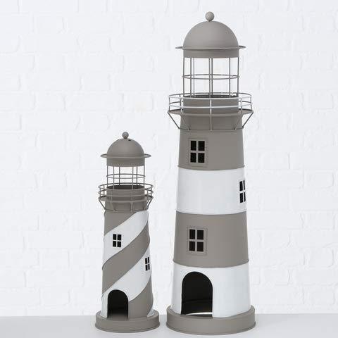 Laterne Leuchtturm Windlicht grau weiß Eisen H 48 Form klein Stückpreis