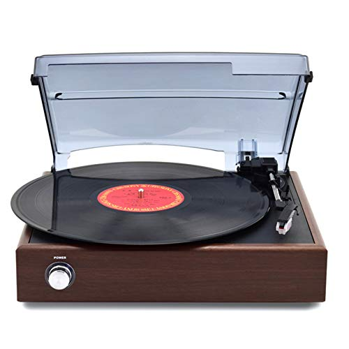 QIAO Vinyl Record Player Bluetooth Belt-Driven 3-Speed Turntable, Vintage Retro Record Players Built-in Stereo Speakers, Modern home Bluetooth record player