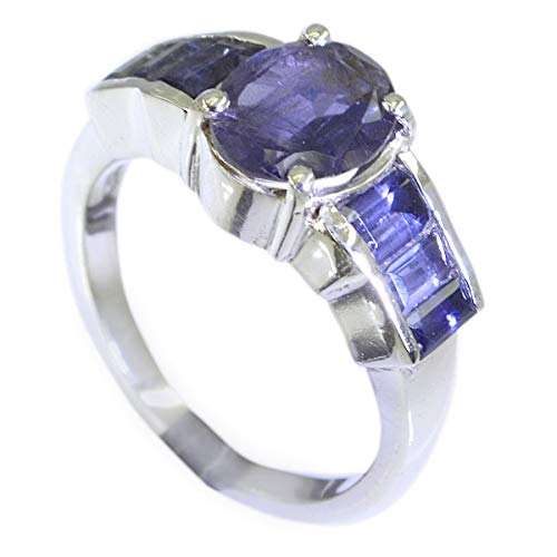joyas plata anillo de iolita facetada de múltiples formas de piedras preciosas naturales - anillo de iolita azul de plata 925 - nacimiento de febrero acuario
