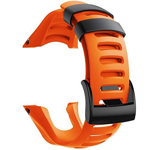 NotoCity Compatible con Correa Suunto Ambit 3, Silicona Reloj de Recambio Brazalete Correas para Suunto Ambit 3 (Hebilla Negra, Naranja)