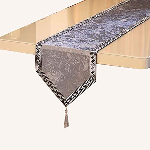 Chemin De Table en Dentelle avec Pompons, Table à Manger Comptoir De Bar, Meuble TV, Armoire De Véranda,(Color:ré,Size:32×210cm)