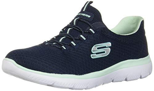 Skechers Damen 12980 Sneakers, Blau (Navy/Aqua), 41 EU