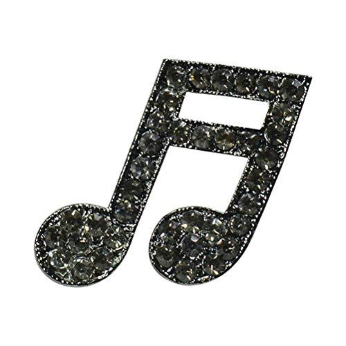 TENDYCOCO Fashion Musical Note Broches Rhinestone Broche Pin Breastpin Accesorios de joyería Regalo para Hombres Mujeres (Negro)