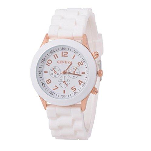 Sannysis® Jalea de Gel de Silicona de Cuarzo analógico Deportes Mujeres Reloj de Pulsera (Blanco)