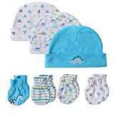 Kiddiezoom – Gorro y manoplas para recién nacidos, juego de 100% algodón, gorro y guantes para niños de 0 a 6 meses Juego de 7 dinosaurios 0-6 Meses