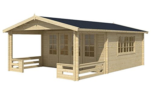 Blockhaus GRAZ 540 x 540cm + Veranda Gartenhaus 58mm Holzhaus