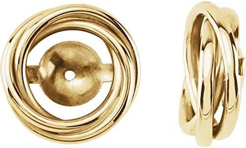 14K Yellow Gold 6.7 mm ID Earring Jackets Knot Earring Jackets