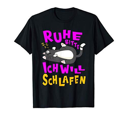 Offizielles Schlafshirt - Katzenshirt Müde Katzen Wochenende T-Shirt