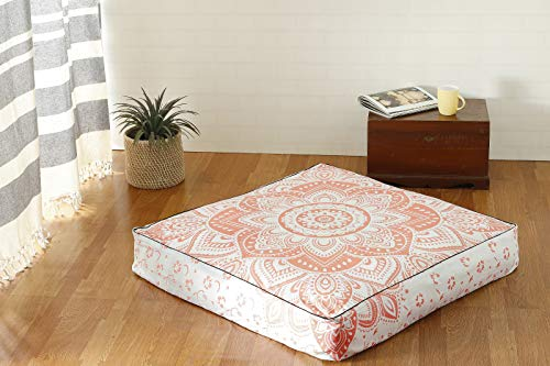 Popular Handicrafts Indian Hippie Ombre Mandala Floor Pillow Cover Square Ottoman Pouf Cover Daybed Oversized Cotton Cushion Cover with Heavy Duty Zipper Seating Ottoman Poufs Dog-Pets Bed 35'