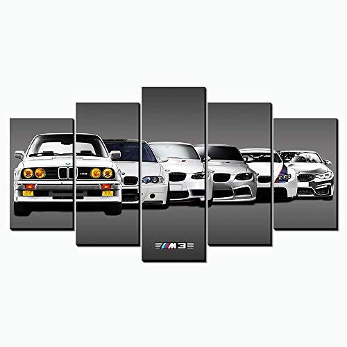 Karen Max Klassische 5 Panels Wandkunst Leinwand Giclée-Druck Ölgemälde Bilder BMW M3-53 Sportwagen Landschaft Home Decor Poster Artwork New Home Geschenke Rahmenlose