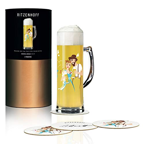RITZENHOFF Seidel bierpul 0,5 l van Andrea Arnolt, van kristalglas, 500 ml, met vijf bierdeksels
