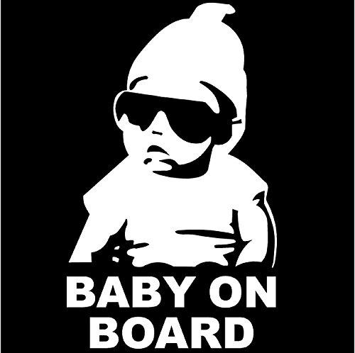 Baby On Board Cool divertente adesivi argento lucido per auto finestra