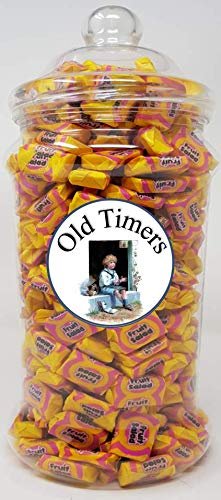 Old Timers Barratt Fruit Salad Toffee Chews in Victorian Retro Style Plastic Jar 1040 Grams