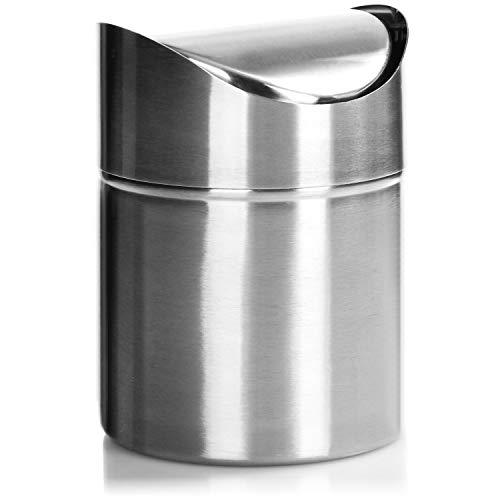 com-four® Abfalleimer mit Schwingdeckel, eleganter Tischmülleimer aus Edelstahl, kompakter Kosmetikeimer für das Bad, Küchenabfalleimer