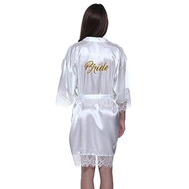 JOYTTON Women's White Satin Kimono Bridal Party Robe With Lace Trim Gold Glitter