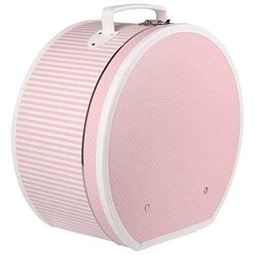 Lierys Hutschachtel Dots and Stripes Damen - Hutkoffer Hutbox Frühling-Sommer Herbst-Winter - One Size rosa