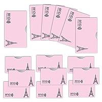 LOE カードケース RFID 磁気 スキミング 防止 クレカ & 通帳 サイズ (エッフェル柄 ピンク)