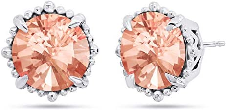 Nicole Miller Fine Jewelry Sterling Silver with 8mm Round Cut Simulated Morganite Halo Stud product image