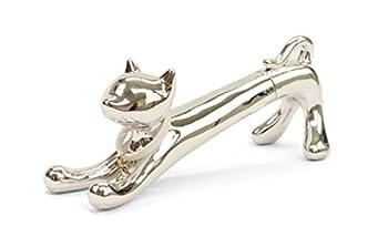 Xonex Cat Desk Pen Black Ballpoint - Metallic Silver