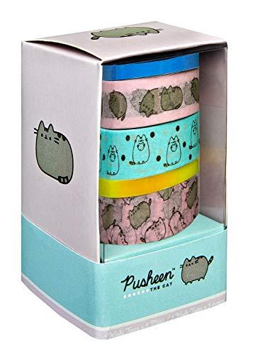 Undercover PUSH0093 Washi Tape Set, Serie Pusheen, 5 Rollen, Verschiedene Motive, dekorative Klebebänder für farbenfrohen Dekospaß