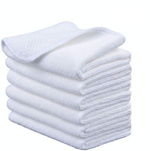 Microfasertuch Mikrofaser Putztuch Universaltuch Reinigungstuch - extrem saugstark und weich Spültuch Geschirrtucher - für Küchen,Badflächen ,Haushalt, Büro(30cmx30cm, 6 Stück Weiß)