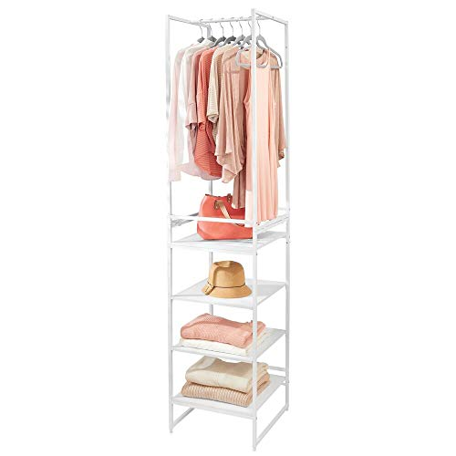 mDesign Modular Closet Organizer System, Vertical Storage Unit - Sturdy Steel Frame, Wood Shelves and Garment Rack for Bedroom, Hallway, Entryway, Closets, Set of 2 - Gray/White