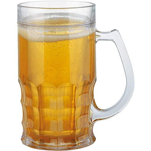 Wahou 29-K1-044 Chope isotherme double paroi Trompe-l'oeil Bière Jaune orange translucide et transparent D13,5 x H16 cm