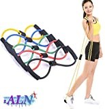 A L N Chest Expander Resistance 8 Type Muscle Chest Expander Rope Workout Pulling Exerciser Fitness Exercise Tube Sports Yoga for Men and Women - Multi Color