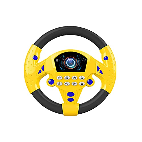 SYCOOVEN Kids Simulation Steering Wheel, Steering Wheel Car Seat Toys with Light and Music, Pretend Driving, Learning Educational Toys for Kids 2 Years + (Black Yellow)