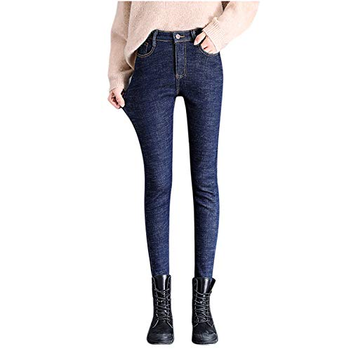 OutTop Women Thermal Bottom Jeans Winter Fleece Lined Warm Skinny High Rise Comfy Stretch Denim Pants Trouser with Pocket (Blue - Beige Liner, 14)