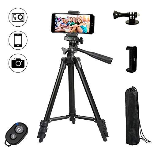 Dezuo 18cm Mini Trípode para Móvil, Smartphone, Cámara, iPhone, Incluye Universal Móvil Soporte y Adaptador de Gopro y Control Remoto Bluetooth