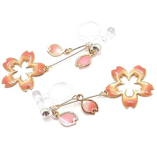 イヤリング樹脂製ノンホールピアスくり抜き桜サクラ花びら揺れる