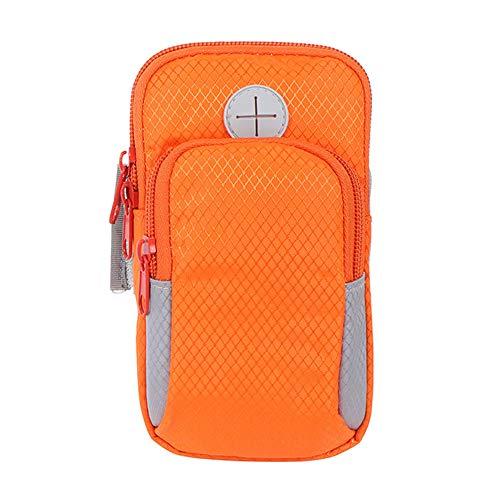 Brazalete deportivo para teléfono, portátil, impermeable, gran capacidad, multifuncional, para mujeres y hombres (naranja).