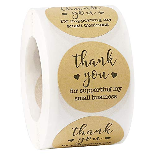 Thank You Stickers 500pcs A Roll, 1.5 inch Small Business Label Kraft Paper Mail Stickers for Envelope Gift Bags Treat Box