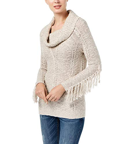 Price comparison product image INC Womens Fringed Cowlneck Tunic Sweater Beige L