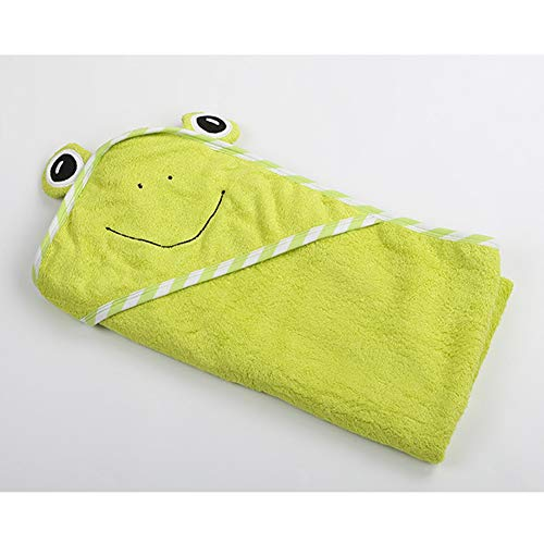 Maternal and child-G.TZ Serviette De Bain Absorbante Douce pour Bébé, Couverture Mignonne en Fibres Superfines De Style Capuche avec Capuchon Mignon pour Enfants (Fit 0-1 Ans) (Petite Grenouille)