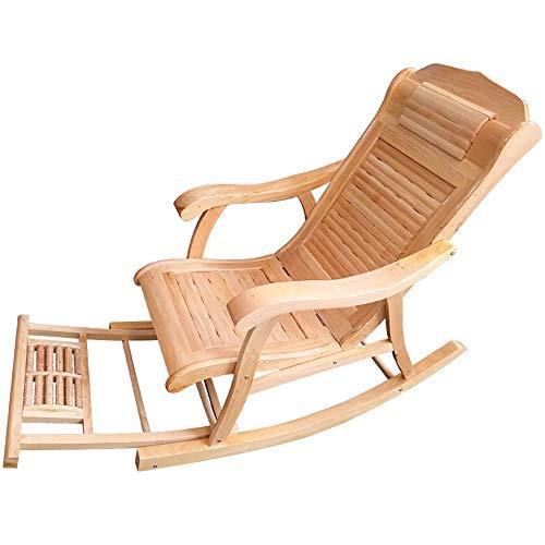 Silla Mecedora con Masaje De Pies Y Almohada Cedro Silla De Relax Ideal For Salón, Oficina, Terraza, Antideslizante, Fácil Montaje (Color : Wood)