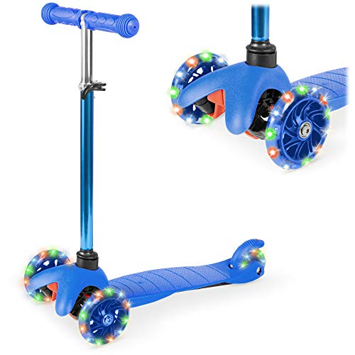 Best Choice Products Kids Mini Kick Scooter Toy w/ Light-Up Wheels, Height Adjustable T-Bar, Foot Break - Blue