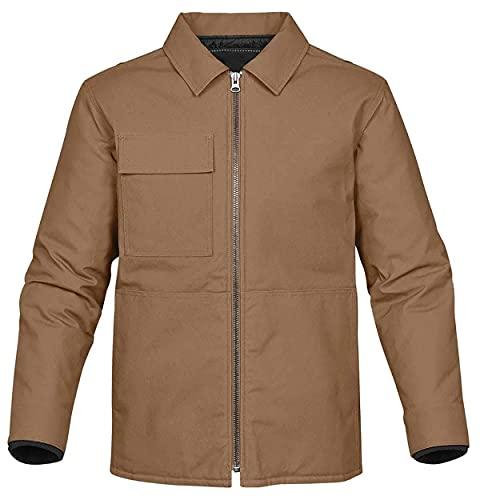 MK Leathers Chaqueta de algodón casual para hombre al aire libre ligera chaqueta cortavientos soporte collar chaqueta militar