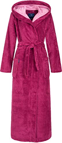 Morgenstern Bademantel Damen mit Kapuze in Fuchsia Pink leicht Frauen Gr S Schlafrock Frauen Damenbademantel Cotton Microfaser Viskose rosa kuschelig