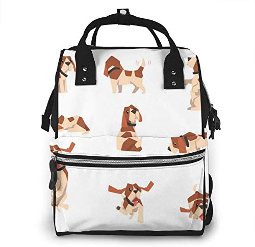 UUwant Sac à Dos à Couches pour Maman Large Capacity Diaper Backpack Travel Manager Baby Care Replacement Bag Nappy Bags Mummy BackpackBeagle Dog in Various Poses Set Cute Funny Animal