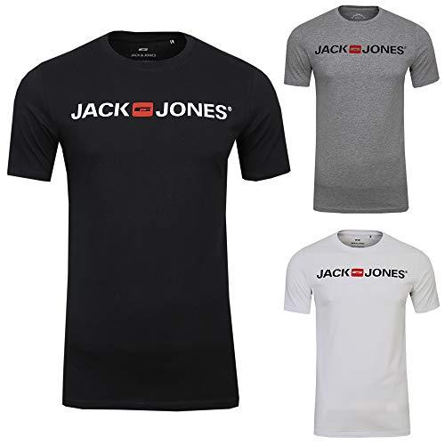 JACK & JONES Herren Corp Logo Tee Crew Neck T-Shirt (XXL, 3er Sparset 2 (Corp Logo Fit:Slim))