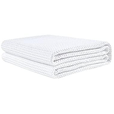 PHF Waffle Weave Blanket 100% Cotton Queen Size White