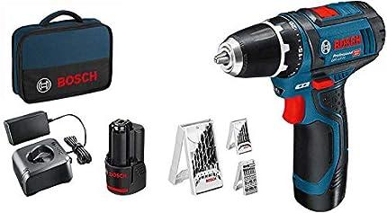Bosch Professional 12V System atornillador a batería GSR 12V-15 (incluye 2 baterías de 2,0 Ah, cargador GAL 12V-20, set de 39 puntas de atornillar, en maletín de lona) - Amazon Edition
