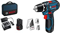 Bosch 12V System GSR 12V-15 - Atornillador, Incluye 2 x 2.0 Batería + Cargador, 39 Piezas Juego de Accesorios, en Bolsa - Amazon Exclusive